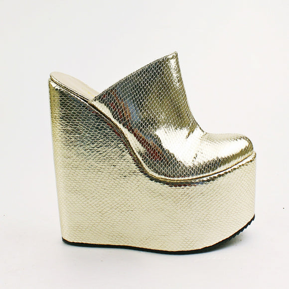 Sabo Golden Platform High Heel Wedge Mules - Tajna Club