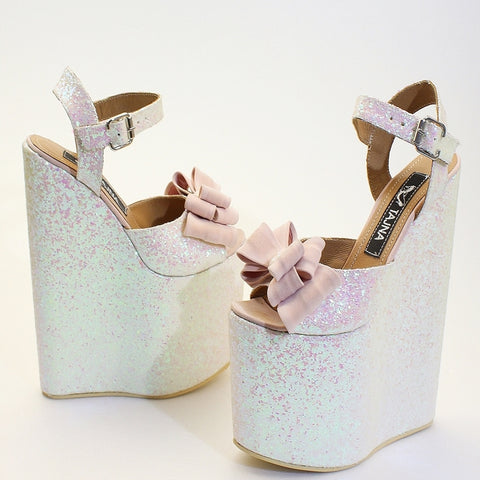 Shimmer Ribbon Elegant High Heel Wedding Shoes Wedges - Tajna Club