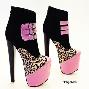 Pink Black Leopard Stylish Platform Boots - Tajna Club