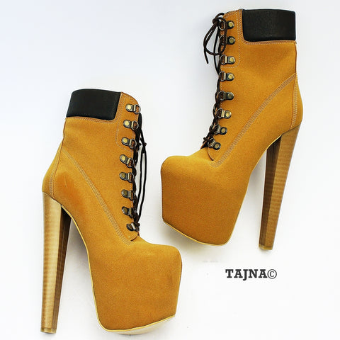 Lace Up Camel High Heel Platform Boots - Tajna Club