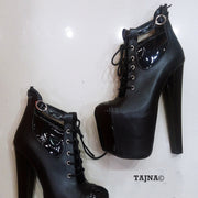 Lace Up Black Ankle High Heel Platform Booties - Tajna Club