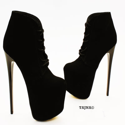 Lace Up Black Faux Suede Platform Ankle Booties - Tajna Club