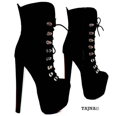 Lace Up Black Faux Suede High Heel Platform Boots - Tajna Club