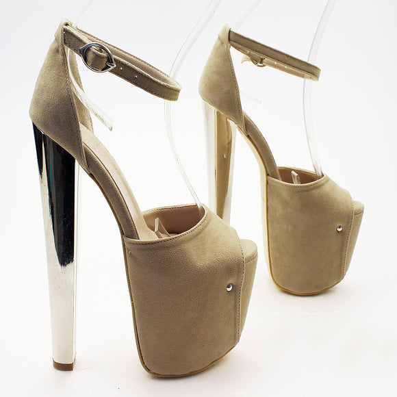Ankle Strap Dark Beige Faux Suede Platform Shoes - Tajna Club