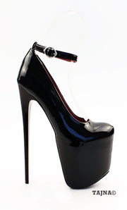 Black Patent Leather 19 cm High Heeled Platforms - Tajna Club