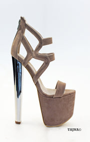 Dark Beige Faux Suede Platform Shoes 19 cm Heels - Tajna Club