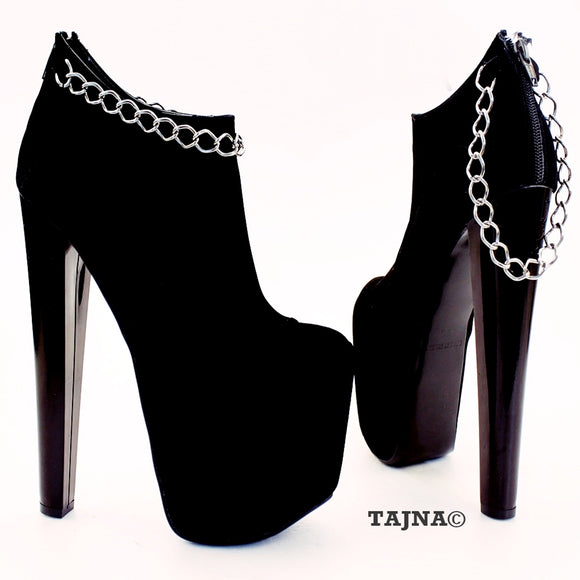 Chain Black Faux Suede Platform Ankle Booties - Tajna Club