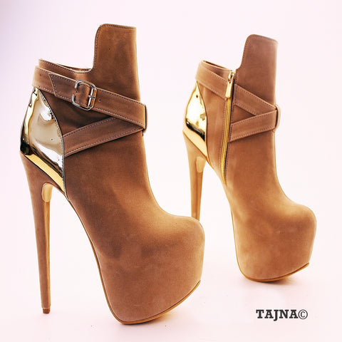 Beige Faux Suede Golden Detail Platform Booties - Tajna Club