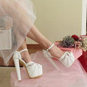 White Lace Ankle Strap High Heel Platform Bride Shoes - Tajna Club