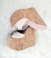 Summer Cream Peep Toe High Heel Wedge Mules - Tajna Club