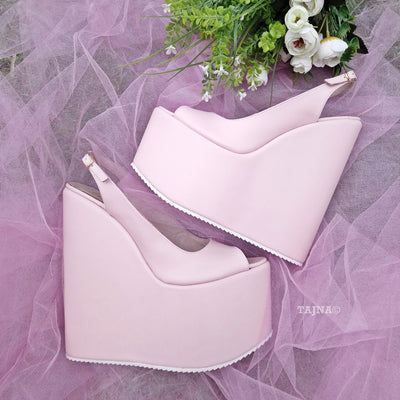 Powder Light Pink 18-22 cm Super High Heel Wedding Shoes Wedges - Tajna Club