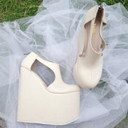 Cream Beige 18-22 cm Super High Heel Wedding Shoes Wedges - Tajna Club