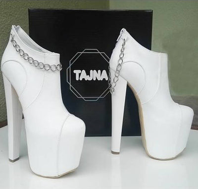 Etsy Sales  - White Ankle Boots with Chain - Tajna Club