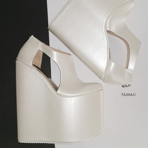 Ivory White Platform Wedges - Tajna Club