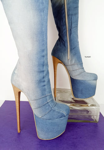 Over the Knee Platform Jean Boots - Tajna Club
