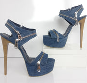 Jean Denim Zipper Platforms - Tajna Club