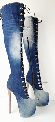 Military Style Denim Jean Over the Knee Boots - Tajna Club