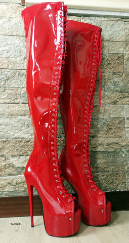 Red Patent Gladiator Lace Up Thigh High Boots - Tajna Club