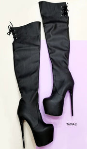 Black Matte Knee High Platform Boots - Tajna Club