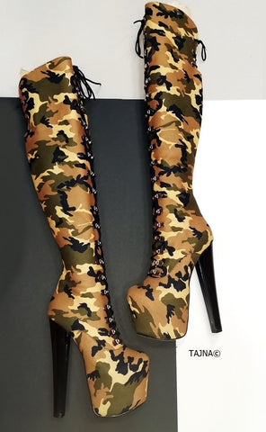 Camouflage Military Style Knee High Boots - Tajna Club