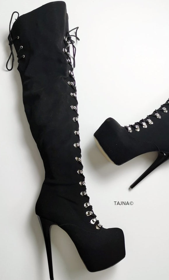 Black Suede Military Style Knee High Boots - Tajna Club