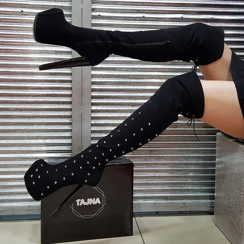 Pinned Black Suede Knee High Boots - Tajna Club