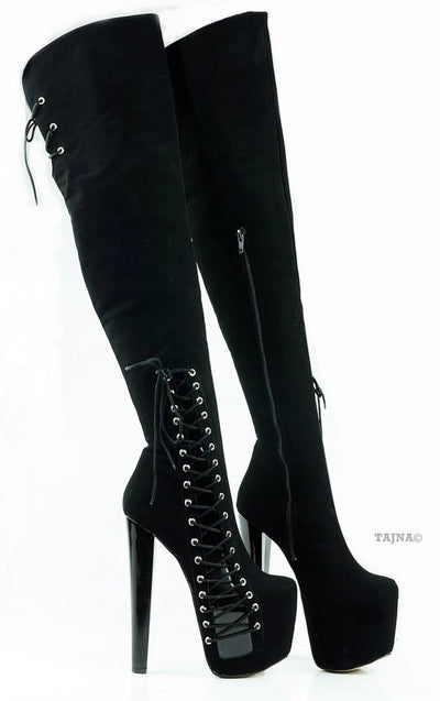 Black Suede Over Knee High Corset Boots - Tajna Club