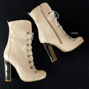 Nude Lace Up Chunky Military Style Boots - Tajna Club