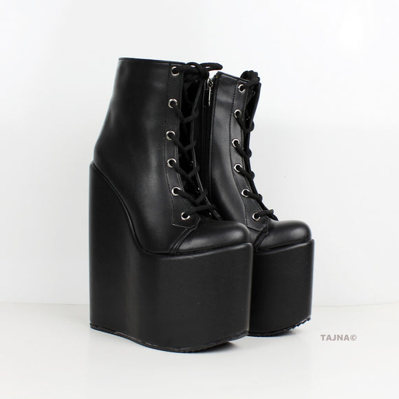 Black Lace Up High Heel Wedge Booties - Tajna Club