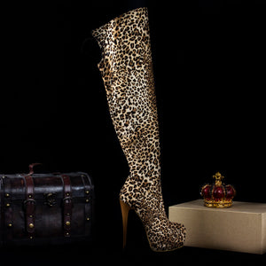cheaper where can i buy uk store Leopard Over Knee Boots – Tajna Club