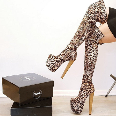 Leopard Over The Knee Boots - Tajna Club