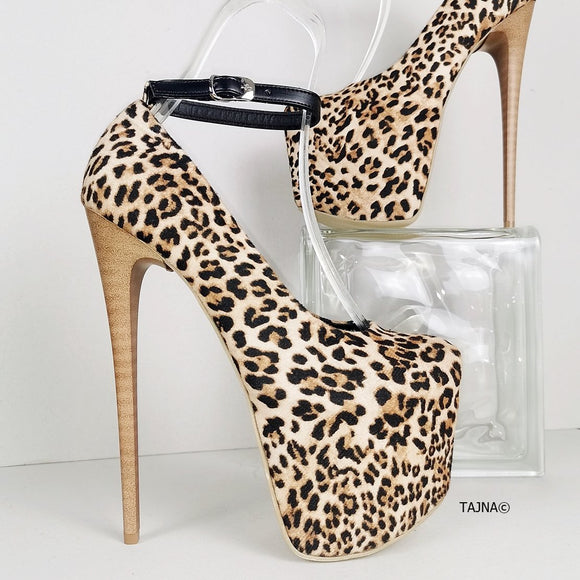 Leopard Ankle Strap Brown Thin Heels - Tajna Club