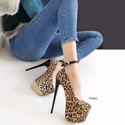 Leopard Black Strap High Heels - Tajna Club