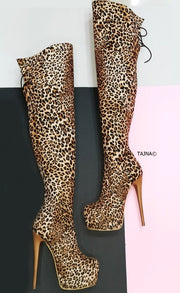 Leopard Over the Knee High Heel Boots - Tajna Club