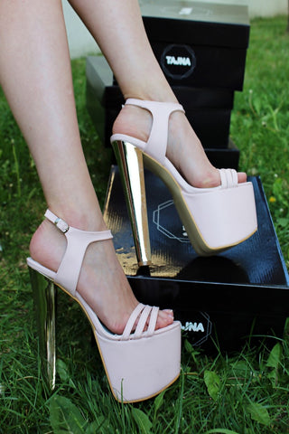 Ankle Strap Light Pink 19 cm High Heel Platform Shoes - Tajna Club