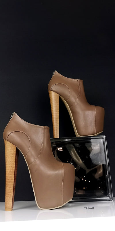 Dark Nude Brown Platform Ankle Heels - Tajna Club
