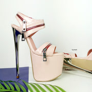Powder Pink Patent Zipper Heel Sandals - Tajna Club