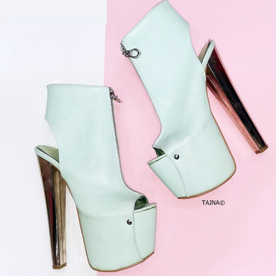 Nile Green Slingback Ankle Platforms - Tajna Club