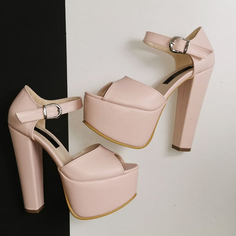 Light Pink Powder Chunk Heel Platforms - Tajna Club