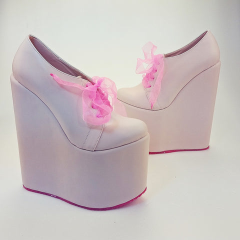 Powder Pink Platform Heel Wedding Shoes - Tajna Club