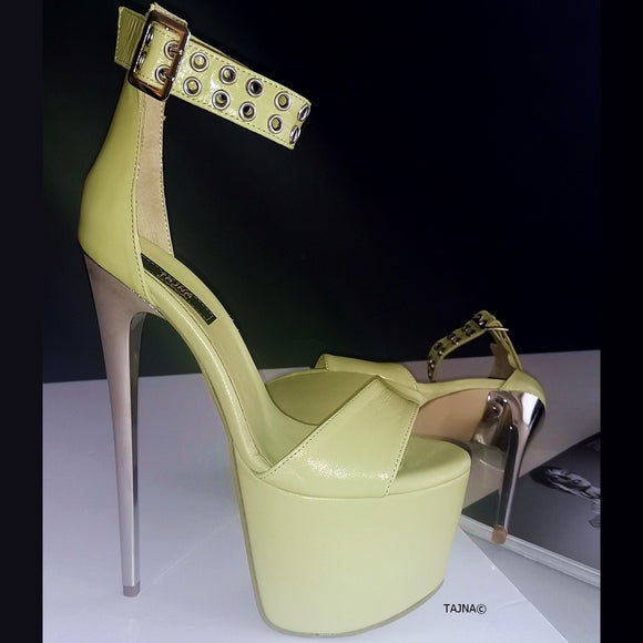 Lime Green Ankle Strap Platform Sandals - Tajna Club
