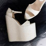 White Shiny  Strap Wedge Bridal Shoes - Tajna Club