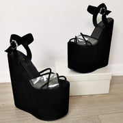 Black Suede Transparent Wedge Sandals - Tajna Club