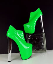 Neon Green Chunky Heel Ankle Booties - Tajna Club