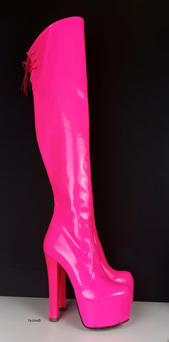 Neon Pink Over Knee Heel Boots - Tajna Club