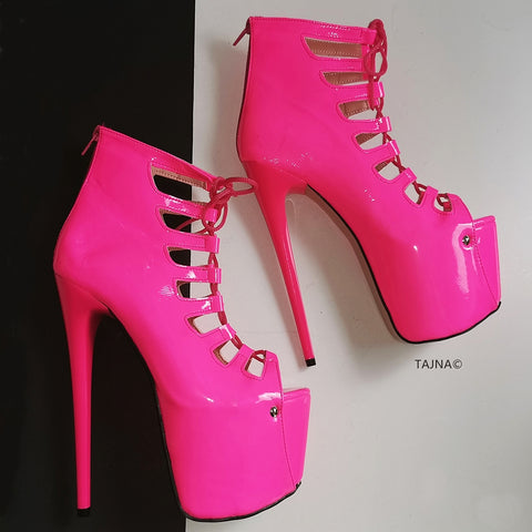 Neon Pink Lace Up Ankle Platforms - Tajna Club