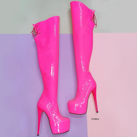 Pink Neon Knee High Platform Boots - Tajna Club