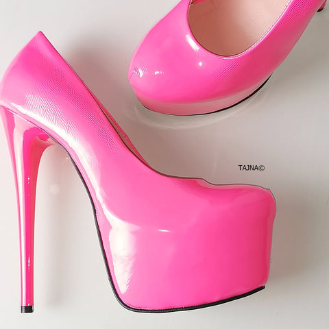 Neon Pink Patent High Heel Pumps - Tajna Club
