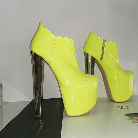Neon Yellow Patent Platform Ankle Booties - Tajna Club