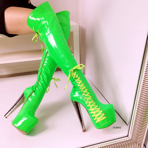 Neon Green Corset Knee High Boots - Tajna Club